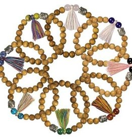 Kheops International Wood Beaded Bracelet with Buddha and Tassel