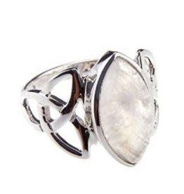 Crystal Earth Studio Trinity Celtic Rainbow Moonstone Ring