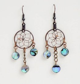 Monague Native Crafts Ltd. 3/4'' Copper Dreamcatcher Earrings with 3 Paua Shells