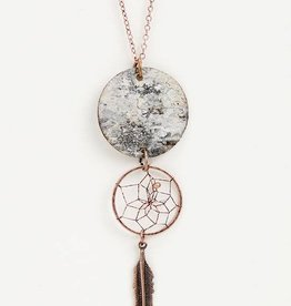 Monague Native Crafts Ltd. Birch Bark Copper Necklace with dreamcatcher and feather
