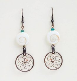 Monague Native Crafts Ltd. 3/4'' Copper Dreamcatcher Earrings with Nautilus Shell