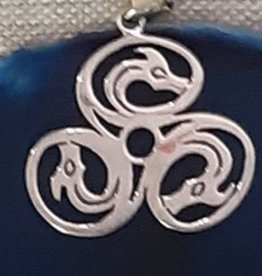 Distinctive by Design Silver Triple Dragon Pendant