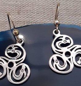 Distinctive by Design Silver Triple Dragon Earrings