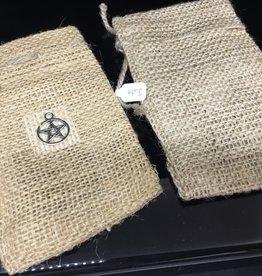Kheops International Jute 3x5 bag - pentacle charm