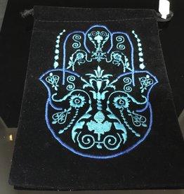 Kheops International Velvet embroidered fatima hand bag 5x7