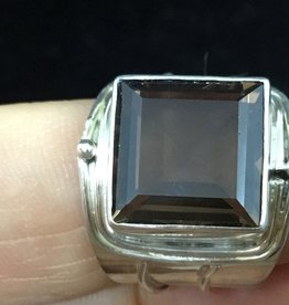 Bamiyan Silver Square Faceted Smoky Quartz Round Ring