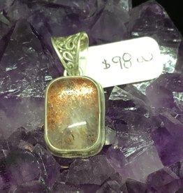 Bamiyan Silver Rare Fire Quartz Rectangle Pendant