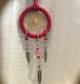 Monague Native Crafts Ltd. Pink Dreamcatcher with metal feathers