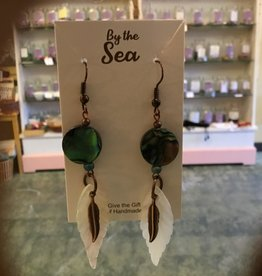 Monague Native Crafts Ltd. Abalonie Earrings with metal & shell feathers