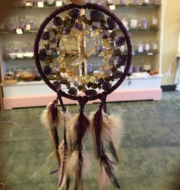 "Monague Native Crafts Ltd. 4""  Purple Stone Cluster Dreamcatcher"