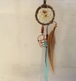 Monague Native Crafts Ltd. 1'' Brown Dreamcatcher with turquoise