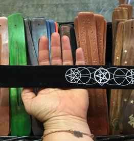 Kheops International Wood Incense Holder - Painted Black - Pentacle