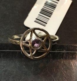 Crystal Earth Studio Silver Star Ring Amethyst Gem