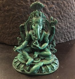 Desiree Designs Antique Turquoise Ganesh with fruit - Resin Statue 5 inch