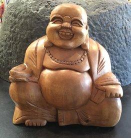 Desiree Designs Carved medium wood happy buddha (hotei)