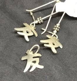 Silver Friend Pendant and Earring Set