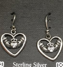 Silver Heart with Hands Earring