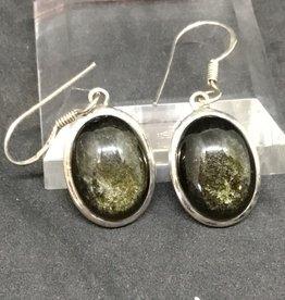 Gold Obsidian Oval Earring