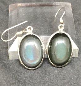 Rainbow Obsidian Oval Earring