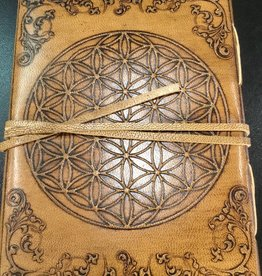 Kheops International Leather Flower of LIfe Journal, strap and button 5X7