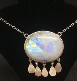 Crystal Earth Studio Large Moonstone Necklace, with silver tassels