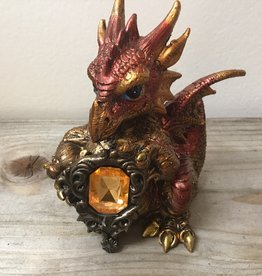Kheops International Baby Red Dragon W/ Crystal, resin 4.5 inch