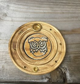 Kheops International Owl Round Wood Incense  Holder
