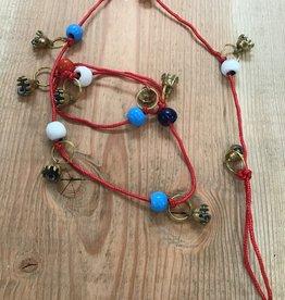 Kheops International Hanging Brass Bells - beads red string