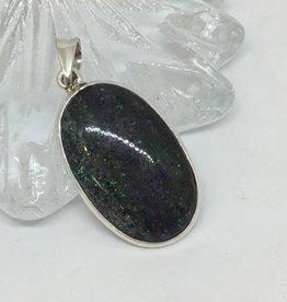 Harmony Mundi Matrix Opal Oval Silver Pendant