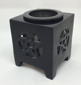 Kheops International Soapstone oil burner  - black pentacle
