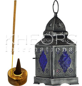 Kheops International Mulit Coloured Glass and Metal Lantern