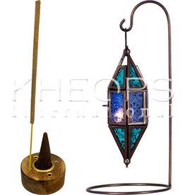 Kheops International Lantern Chapel and Stand - Aqua & Blue 7.5 inch