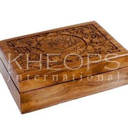 Kheops International Carved Wood Box - lotus(5X7)