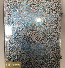 Paperblanks Silver Filagree Maya Blue Grande Journal