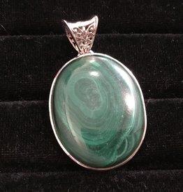 Saffron Fine Jewellery Ltd. Malachite Silver Pendant