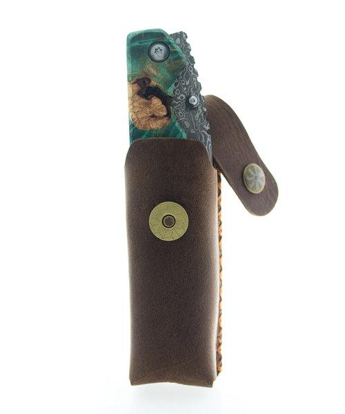 Asmodus Damascus + Stab Wood Folding Knife