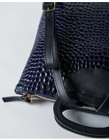 Clare V MARCELLE BACKPACK MIDNIGHT CROCO
