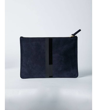 Clare V MARGOT FLAT CLUTCH NAVY SUEDE + GLOSS STRIPE