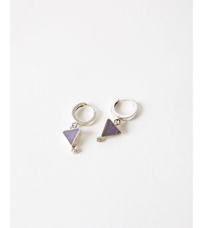 Young In The Mountains Geo Triangle Hoop Earrings - Purple Jasper