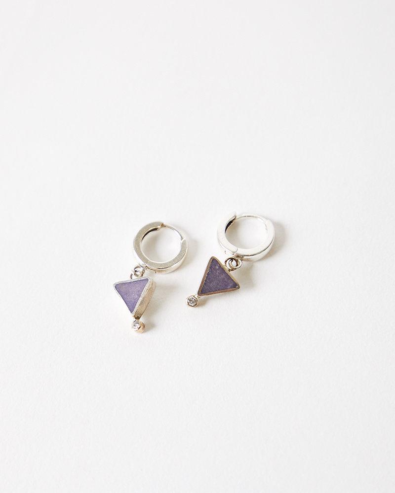 Young In The Mountains Geo Triangle Hoop Earrings - Purple Jasper