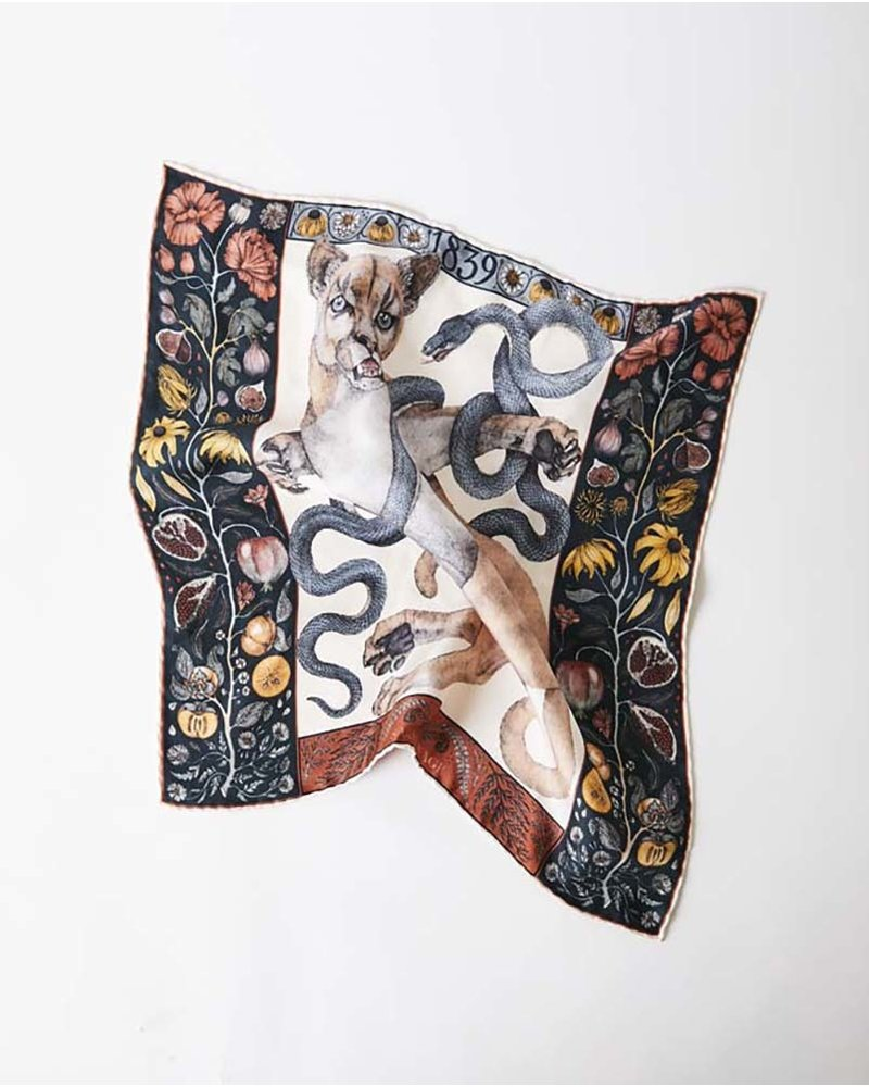 Sabina Savage The Cougar and Serpent Scarf - Small - Parchment/Ink