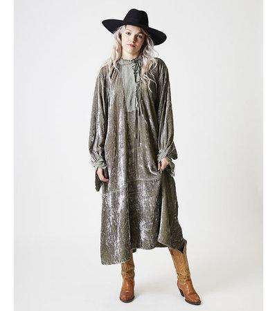 Untitled Co HAIDEN SILK VELVET EMBROIDERED DRESS