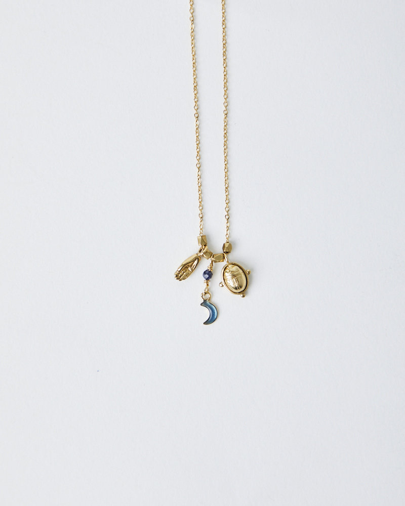 La2L HAND, MOON & SCARAB CHARM NECKLACE