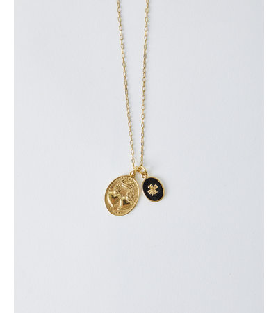 La2L LUCKY DOUBLE HEART CHARM NECKLACE