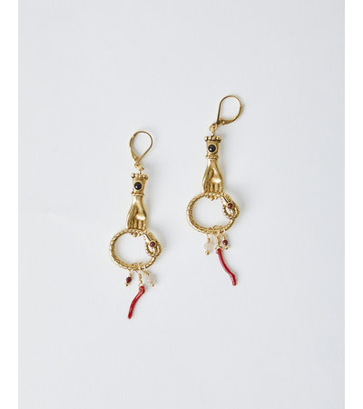 La2L SERPENT CORAL EARRINGS