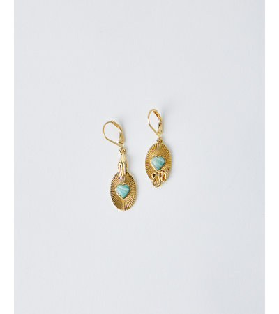 La2L OVAL HEART EARRINGS