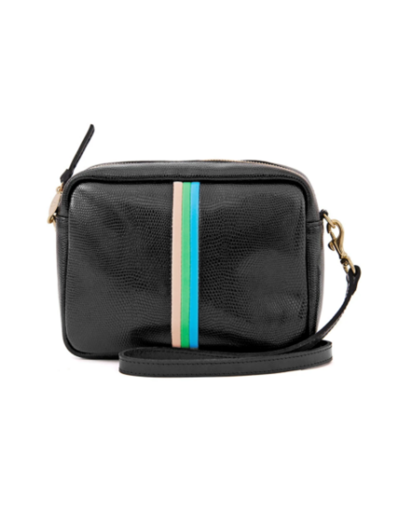 Clare V MIDI SAC - BLACK LIZARD, PINK + GREEN STRIPE