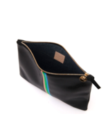 Clare V FLAT CLUTCH - BLACK LIZARD, PINK + GREEN STRIPE