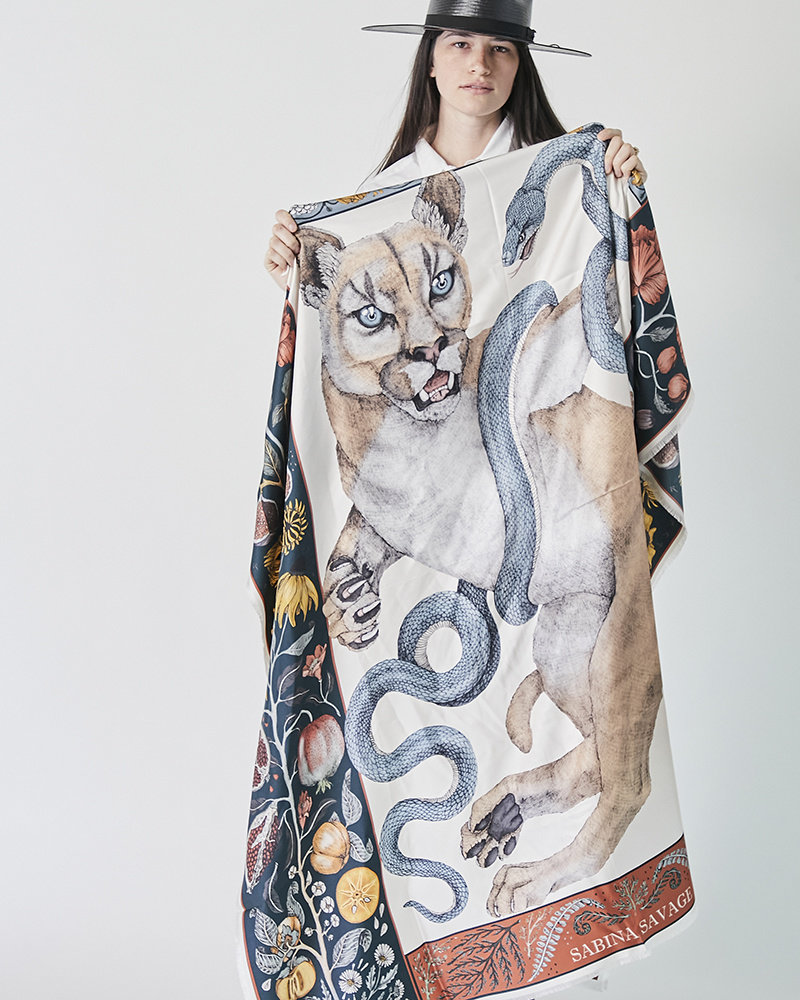 Sabina Savage THE COUGAR AND THE SERPENT LARGE SCARF IN PARCHMENT