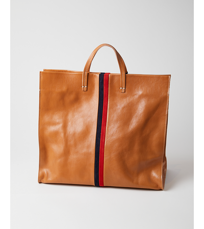 Clare V Simple Tote - Natural Rustic w/ Navy & Red